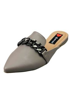 Mule Bico Fino Love Shoes Confort Detalhes Correntes Cinza - Marca Love Shoes Slippers, Flats, Shoes, Products, Fashion, Chains, Gray, Loafers & Slip Ons, Bag Packaging