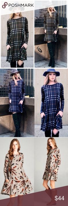 """Olive Plaid Check Loose Flowy Fall Dress Tunic Super cute fall dress! The plaid is so beautiful! Slightly sheer. Sizes S (0-4) M (6-8) L (10-12) XL (12-14). Brand new! Available in Olive and Blue, limited supply, grab before it's gone! Approx 35"""". This listing is for the olive Dresses Long Sleeve"""