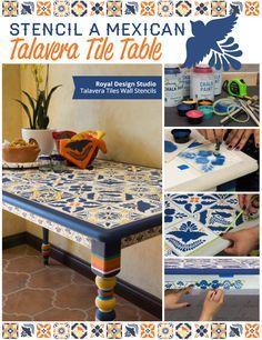 How to stencil a Talavera tile pattern on a table   Talavera Tile Stencils   Royal Design Studio