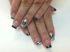Raiders nails - for those who love custom nails -- Caitlin !