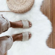 Sliding in | in our Coast Espadrille Slide.  Captured by and available at @ivydesignercollections