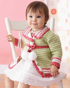 Pom-Pom Cardigan  by Bernat Design Studio - free crochet pattern - baby sweater