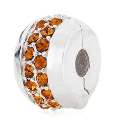 Babao Jewelry Lines Golden Yellow CZ Crystals 925 Sterling Silver Clip Bead fits Pandora Style European Charm Bracelets *** Unbelievable  item right here! : Charms and Charm Bracelets