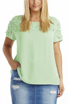 Petal applique Top - mint Style No: T1466 Summer weight Crepe fabric Top. This Top is Loose fitting and features scattered tiny appliqued petals on the sleeves and the upper part of the top at the front. #plussize #dreamdiva #dreamdivafiles