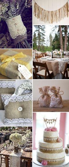 Vai de juta! Decoração de Casamento com Juta | http://blogdamariafernanda.com/decoracao-de-casamento-com-juta