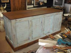 Distressed Retail Check-out Counter Kitchen Island / Bar / Desk Retail Counter, Store Counter, Cash Wrap Counter, Check Out Counter, Kitchen Island Bar, Farm Store, Boutique Decor, Ikea, Shops