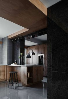 Dark contemporary apartment located in Beijing, China, designed in 2017 by Archistry Design & Research Office. Interior Work, Interior Design Kitchen, Interior And Exterior, Contemporary Apartment, Contemporary Interior, Partition Door, Alvar Aalto, Types Of Rooms, Design Research