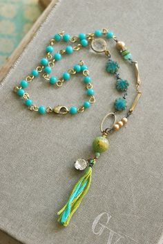 Colorful green and aqua tassel necklace/boho/layering necklace. Tiedupmemories