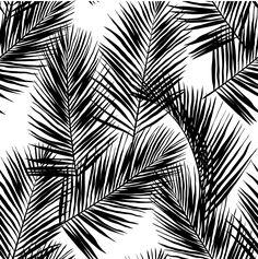 Black Palm Leaves Wallpaper - 25W x 125H