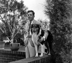 Edward Everett Horton posing with his dog.