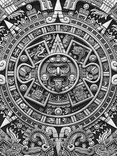 """Aztec Calendar Sun Stone - Greyscale"" iPhone Case Cover by Ninjangulo Redbu , Tatuagem Azteca, Mayan Tattoos, Buddha Tattoos, Symbol Tattoos, Polynesian Tattoos, Hand Tattoos, Hannya Maske, Aztec Tattoos Sleeve, Voll Arm-tattoos"