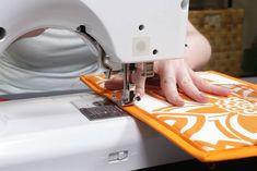 How to Make a Hanging Pocket Organizer - Add the trim Range Document, Homework Organization, Bias Tape Maker, Clear Labels, Hanging Fabric, Pocket Organizer, Thing 1, Straight Stitch, Quilt Patterns