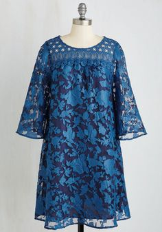 Reunion on the Rhine Dress. You greet your admired anthro professor with a pleasant hello in this dazzling bell-sleeved dress. #blue #modcloth