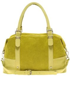 Lime ASOS Leather Metal Keeper Tote