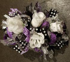 Wrist Corsage Wedding, Prom Corsage And Boutonniere, Corsages, Boutonnieres, White Corsage, Flower Corsage, Grey Ribbon, Purple Ribbon, Prom Flowers