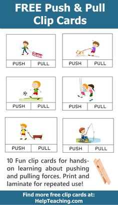 FREE Push and Pull Clip Card Printables for learning about forces. Clip cards make for great hands-on learning activities. Laminate for repeated use with students. Free Kindergarten Worksheets, Science Worksheets, Preschool Lessons, Science Lessons, Teaching Science, Kindergarten Activities, Science Activities, First Grade Science, Pushes And Pulls