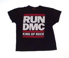 8135cba6c86492 Vintage 1990s Run DMC T Shirt Logo size L Black Cotton Tee 90s King Of Rock  the House Rap Hip Hop Dance Mohawk Music My Adidas Graphics Jam