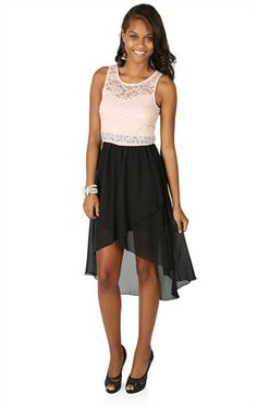 Deb Shops Chiffon Dress with Illusion Lace Bodice and Tulip High Low Skirt $42.90