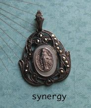 Sterling Miraculous Medal With Mother of Pearl and Marcasite Accents