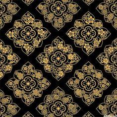 Satsuki 3 - Blossom Burst Medallions - Ebony Black/Gold