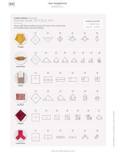 Napkin folding tips from Martha Stewart. Entertaining tips. Party tips.