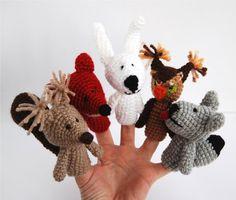 Crocheted Amigurumi Woodland Animals Finger Puppets by crochAndi on Etsy