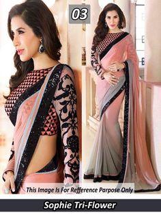 Light Peach and Grey Designer Saree-Bollywood Sarees-international choice