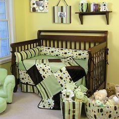 All Star Boy Quilt Blue Green Patchwork Brown Crib Bedding