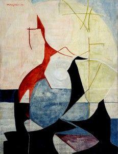 Anna-Eva Bergman, N°155-1950 Composition, 1950, 35 X 27 cm, huile sur panneau de bois isorel