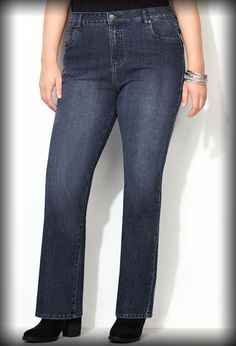 Delux Stretch Bootcut Jean (Medium Wash) • Classic bootcut jean. • Sturdier fabric conforms to body shape. • Sits at the waist. • Fitted through the hip and thigh. • Straight from knee to hem. • 5-pocket styling. • Medium wash.  • Cotton/polyester/spandex. Machine wash. Imported.  • Approx. inseams: 32 inch (av.); 29 inch (pet); 35 inch (tall).