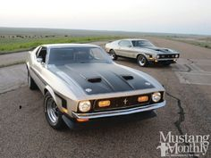 With these 429 Mach 1 and Boss 351 owner Kelly Schultz has two of the best from Mustang's last big year for performance--both in Light Pewter Metallic - Mustang Monthly Magazine Ford Mustang 1967, Ford Mustang Shelby Cobra, Mustang Mach 1, Mustang Fastback, Mustang Cars, Car Ford, Fox Mustang, Shelby Gt500, Mustang Convertible