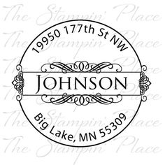 Custom Address Stamp - Fancy Circle Address - Rubber Stamp PR127. $17.95, via Etsy.