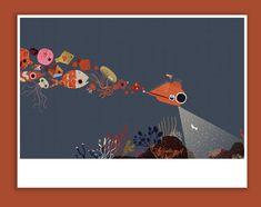 Deep sea sock Giclée print 30 x 40cm   Etsy