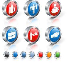 city job market 3D royalty free vector icon set vector art illustration
