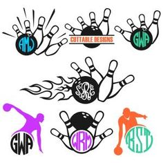 Bowling Monogram Frames Cuttable Design Cut File. Vector, Clipart, Digital Scrapbooking Download, Available in JPEG, PDF, EPS, DXF and SVG. Works with Cricut, Design Space, Sure Cuts A Lot, Make the Cut!, Inkscape, CorelDraw, Adobe Illustrator, Silhouette Cameo, Brother ScanNCut and other compatible software.