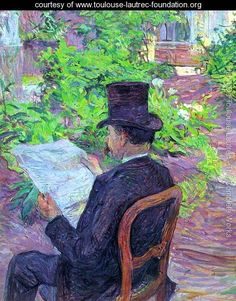 En este cuadro se ve la influencia de Van Gogh,  contemporáneo y amigo.  Desire Dihau Reading a Newspaper  in the Garden 1890