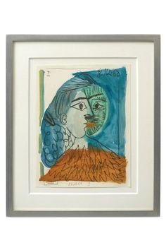 Abstract watercolor painting of woman in profile, and man by Raymond Debieve (1931 - 2011).  France, 1968