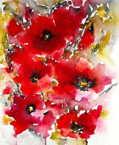 """Saatchi Online Artist Karin Johannesson; Painting, """"Poppies en masse VI"""" #art"""