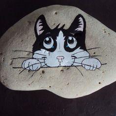 """Galet """"ben chat alors!!!!""""peint à l'acrylique"""