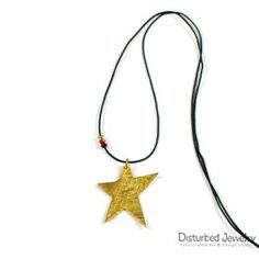 This is a sterling silver 925 handcrafted star pendant. It looks like melting and it is plated with yellow gold. Has mixed brush finish and delivered with black adjustable cord of flax, with tiny crystals. Star Pendant, Pendant Necklace, Cord, Plating, Skull, Pendants, Sterling Silver, Crystals, Yellow