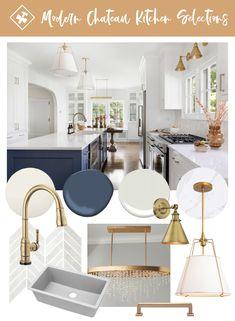 Interior Exterior, Kitchen Interior, Kitchen Design, Kitchen Ideas, Blue Kitchen Island, White Kitchen Cabinets, Blue Cabinets, Kitchen Paint, Gold Kitchen Hardware