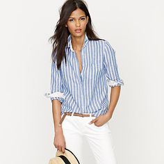 PERFECT SHIRT IN STRIPE LINEN    $79.50