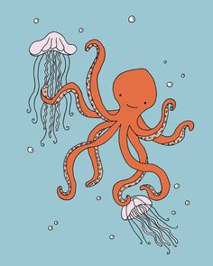 Octopus Nursery Art Print, Octopus and Jellyfish Picture, Tentacled Friends, Children's Art Print, Kids Wall Art, Under the Sea, Nautical