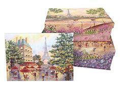 Punch Studio Paris Promenade Set of 3 Nesting Flip Top Boxes with Magnetic Closure