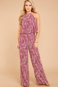 Five Star Appeal Burgundy Print Jumpsuit Printed Jumpsuit, Five Star, New Today, Latest Outfits, Trendy Clothes For Women, Affordable Clothes, Dress Outfits, Dresses, Burgundy