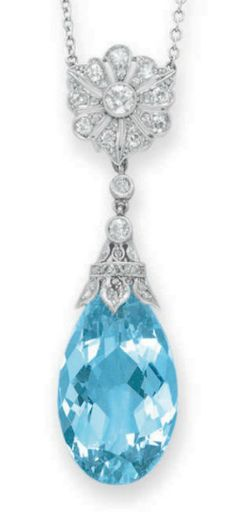 AN AQUAMARINE AND DIAMOND PENDANT NECKLACE   Suspending a pear-shaped aquamarine, from a rose-cut diamond cap, to the old European and single-cut diamond foliate link and fine-link white gold chain, mounted in platinum, 15 ins.