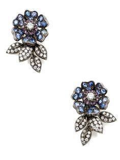 Tara Compton Estate Ca. 1990s Sapphire & Diamond Flower Earrings