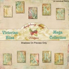 """Victorian Bliss Alpha. This is a nice little freebie to go with the new collection called """"Victorian Bliss"""" that is an abundance of Victorian ephemera and papers. #scrapbooking #printable #free #download #decoupage"""