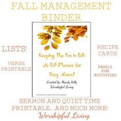 Fall Management Binder - Worshipful Living