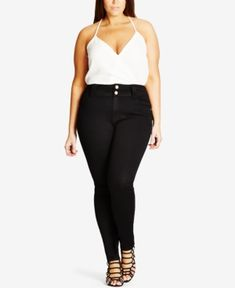 City Chic Trendy Plus Size Harley Corset Skinny Jeans - Black 18W